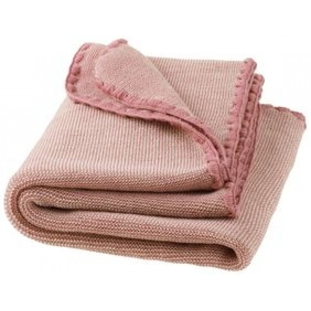 DISANA babytæppe økologisk uld rosé/natur melange-31