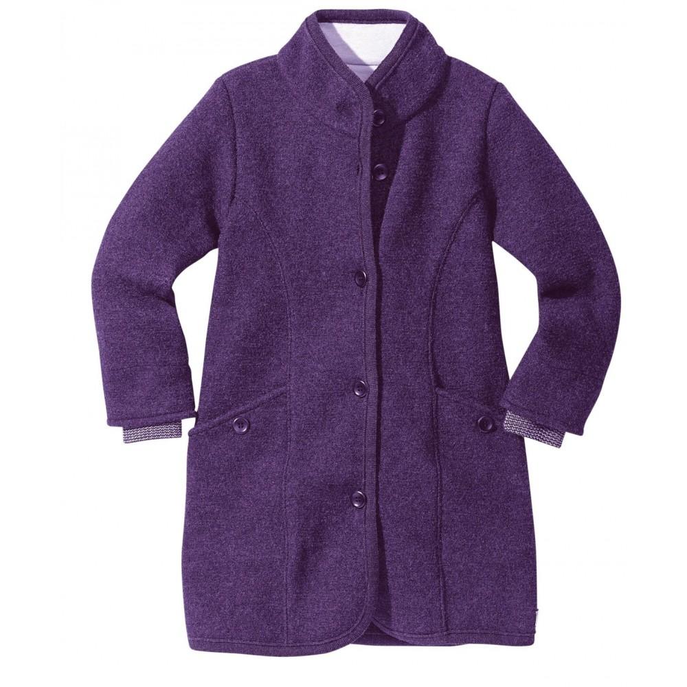 DISANA | lang uldjakke | kogt uld | lilla-31