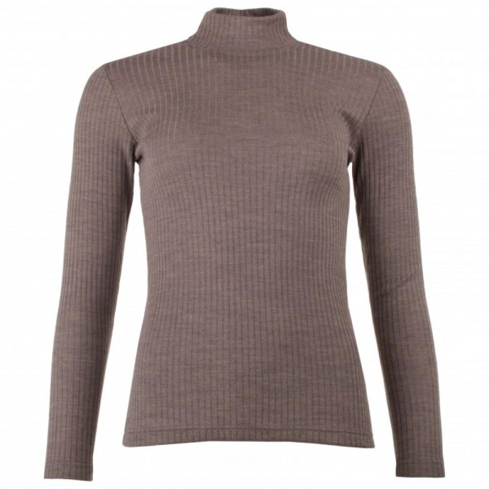 Engel dame langærmet bluse i rib uld and silke valnød-31