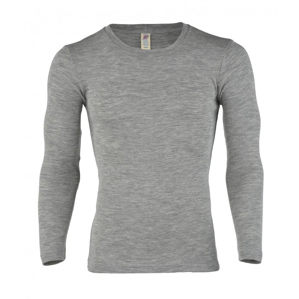 Engel herre langærmet t-shirt uld and silke grå-31