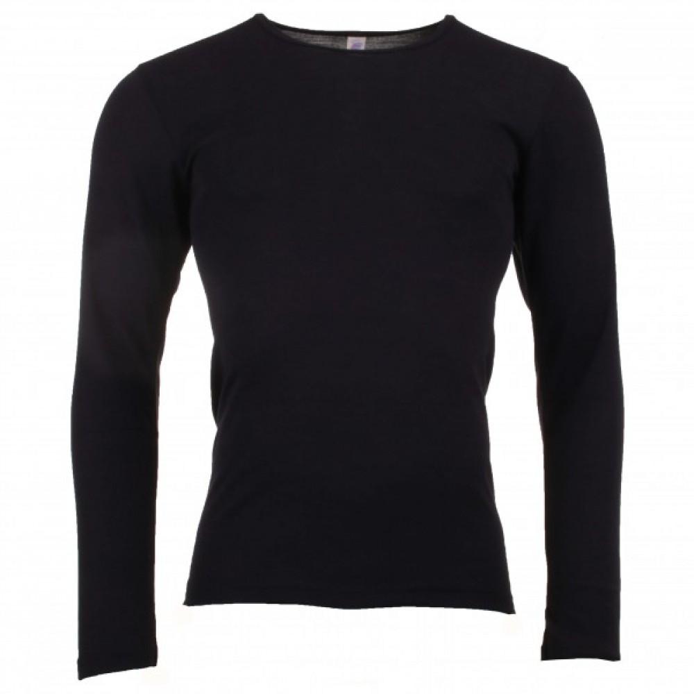 Engel herre langærmet t-shirt i økologisk uld and silke sort-31