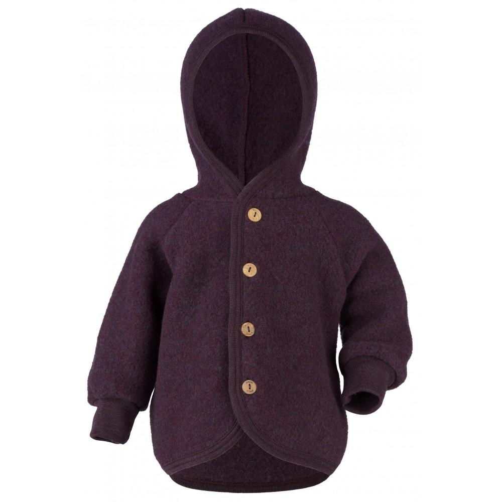 Engel jakke med hætte i økologisk uldfleece mørk lilla-31