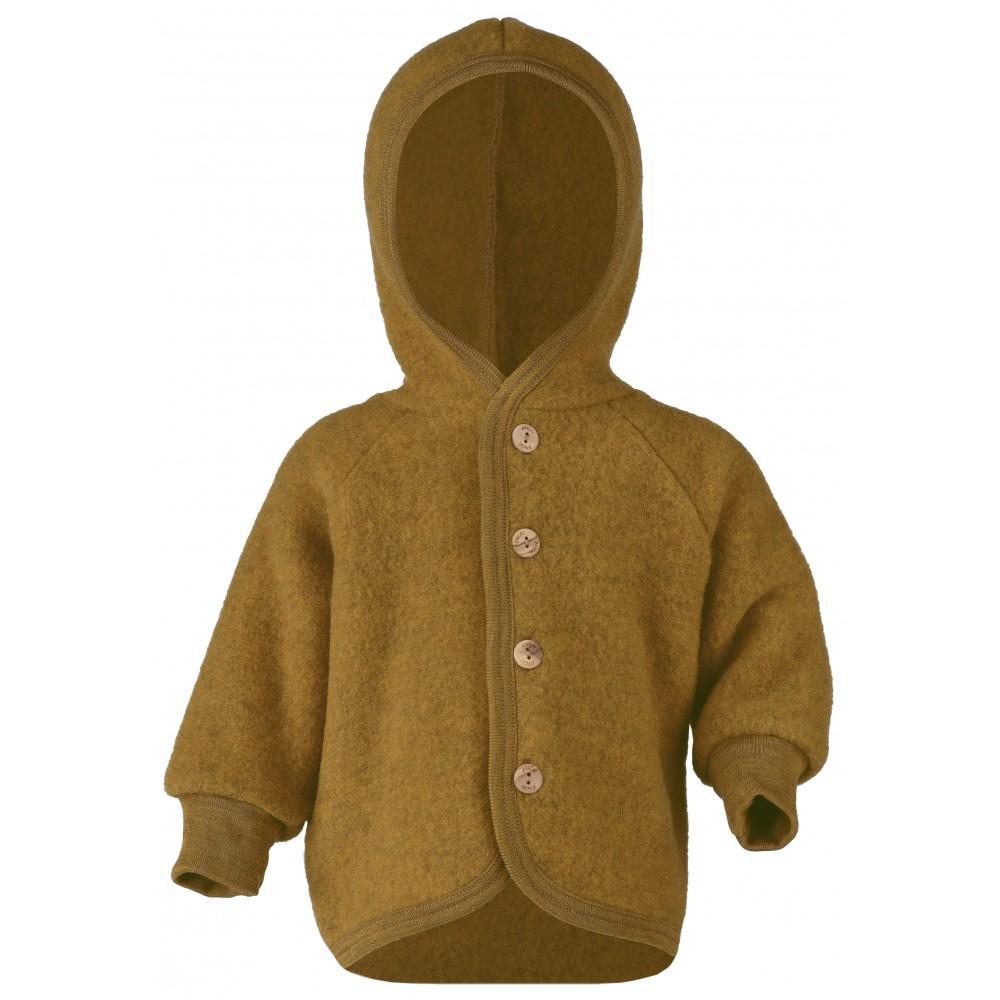 Engel jakke med hætte i økologisk uldfleece safran-31