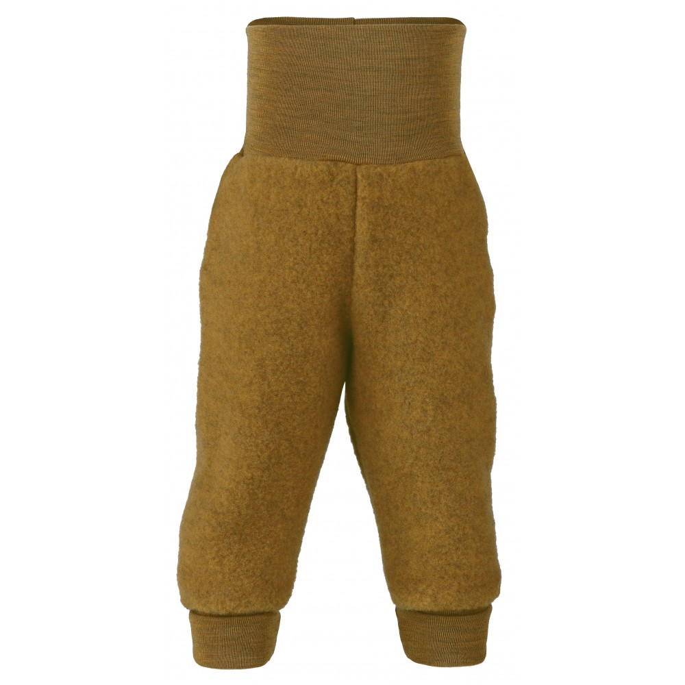 Engel bukser i økologisk uldfleece safran-31