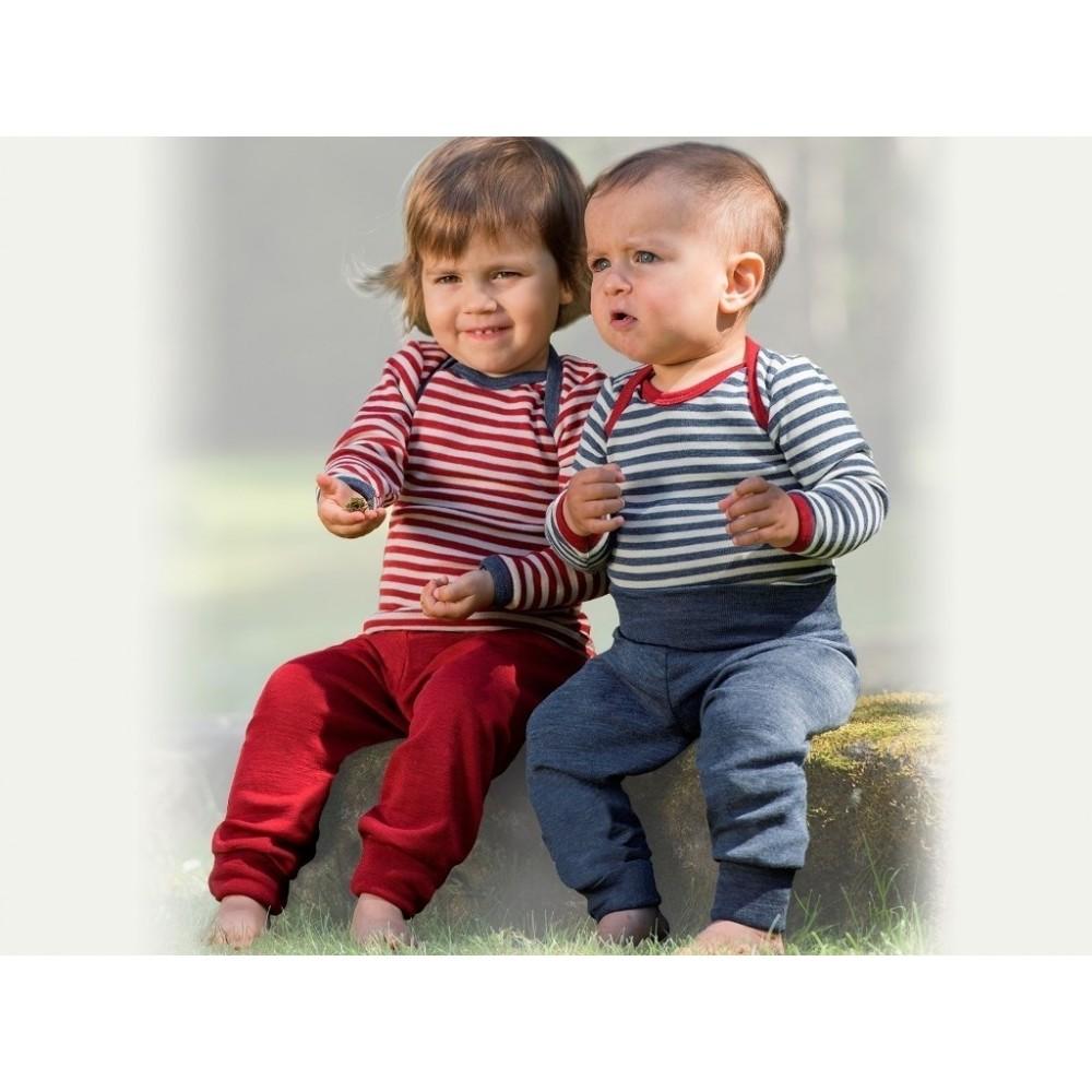 Engel babybukser uld rød melange-01