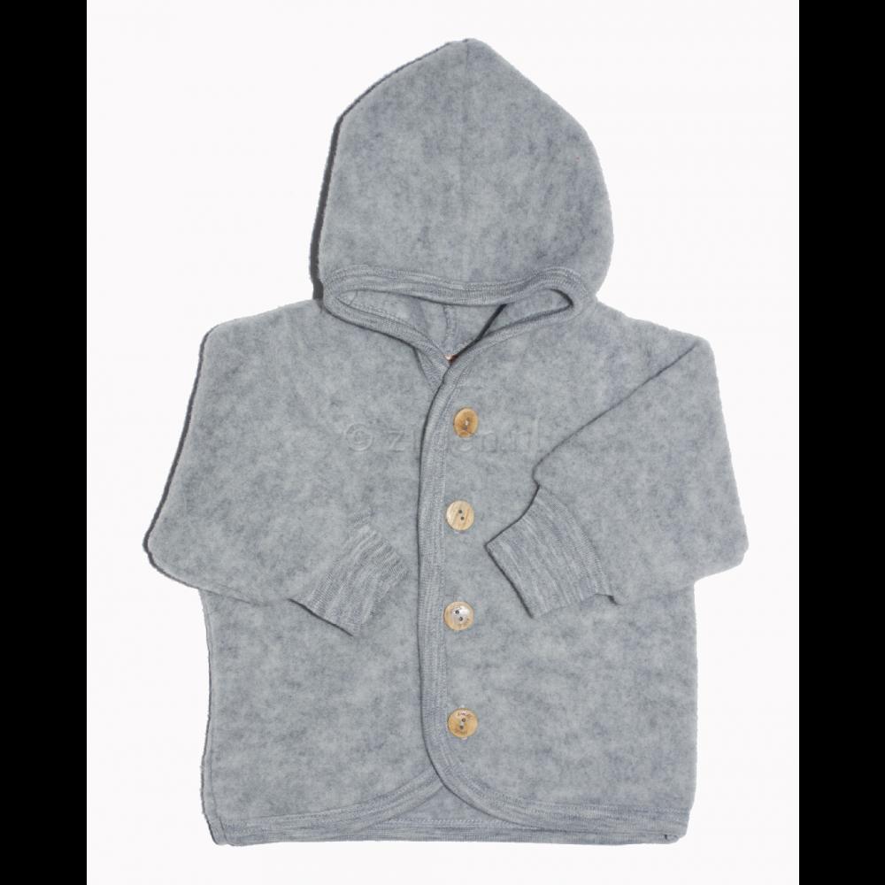Engel jakke med hætte i økologisk uldfleece grå-02