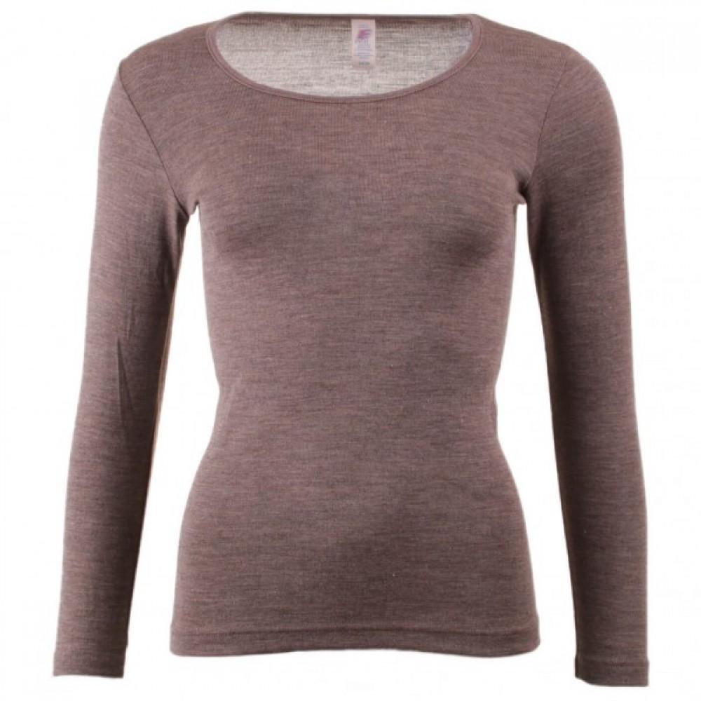 Engel dame langærmet T-shirt uld and silke valnød-31