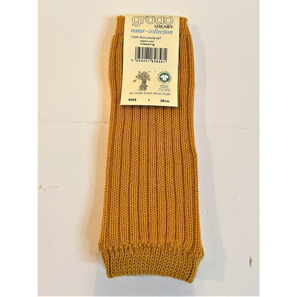 Grödo benvarmere børn økologisk uld 25 cm. safran-31