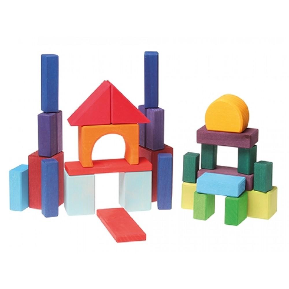 Grimms geo-byggeklodser 30 stk. farvede-31