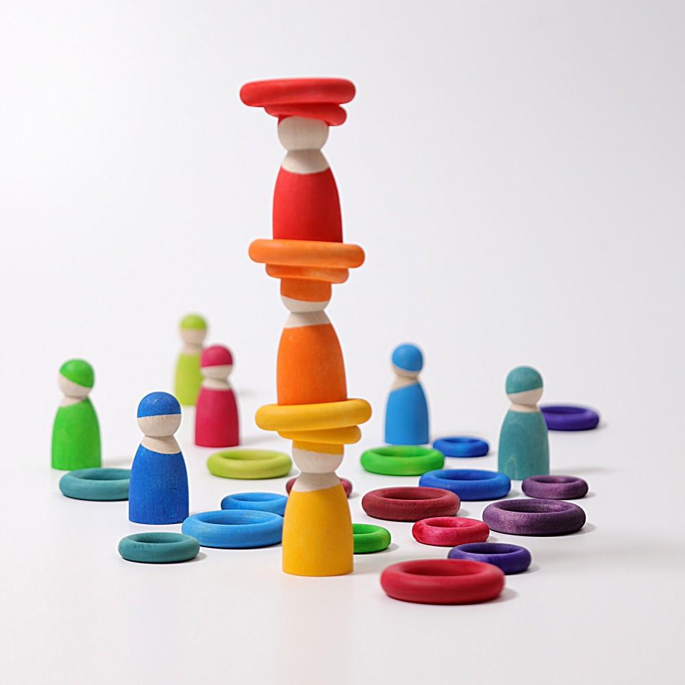 Grimms bygge ringe 24 stk. klassiske farver-01