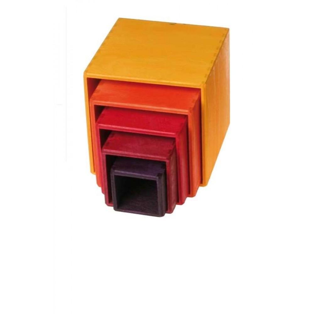 Grimms stabelkasser gul/orange/rød 5 dele-31