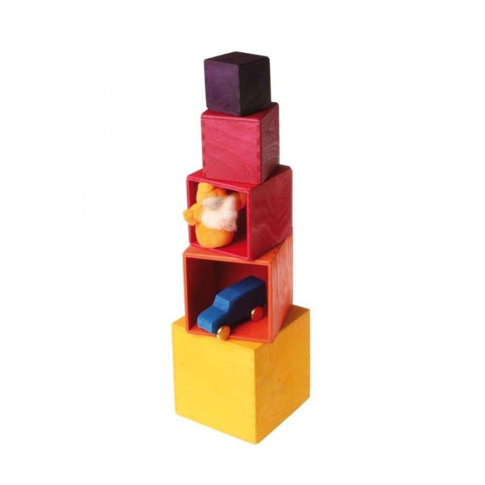 Grimms stabelkasser gul/orange/rød 5 dele-01