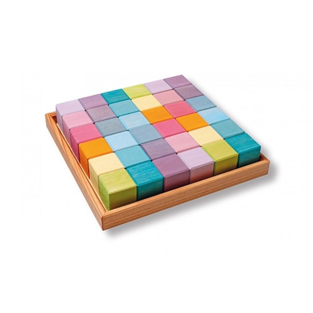 Grimms 36 byggeklodser i trækasse pastelfarver-31