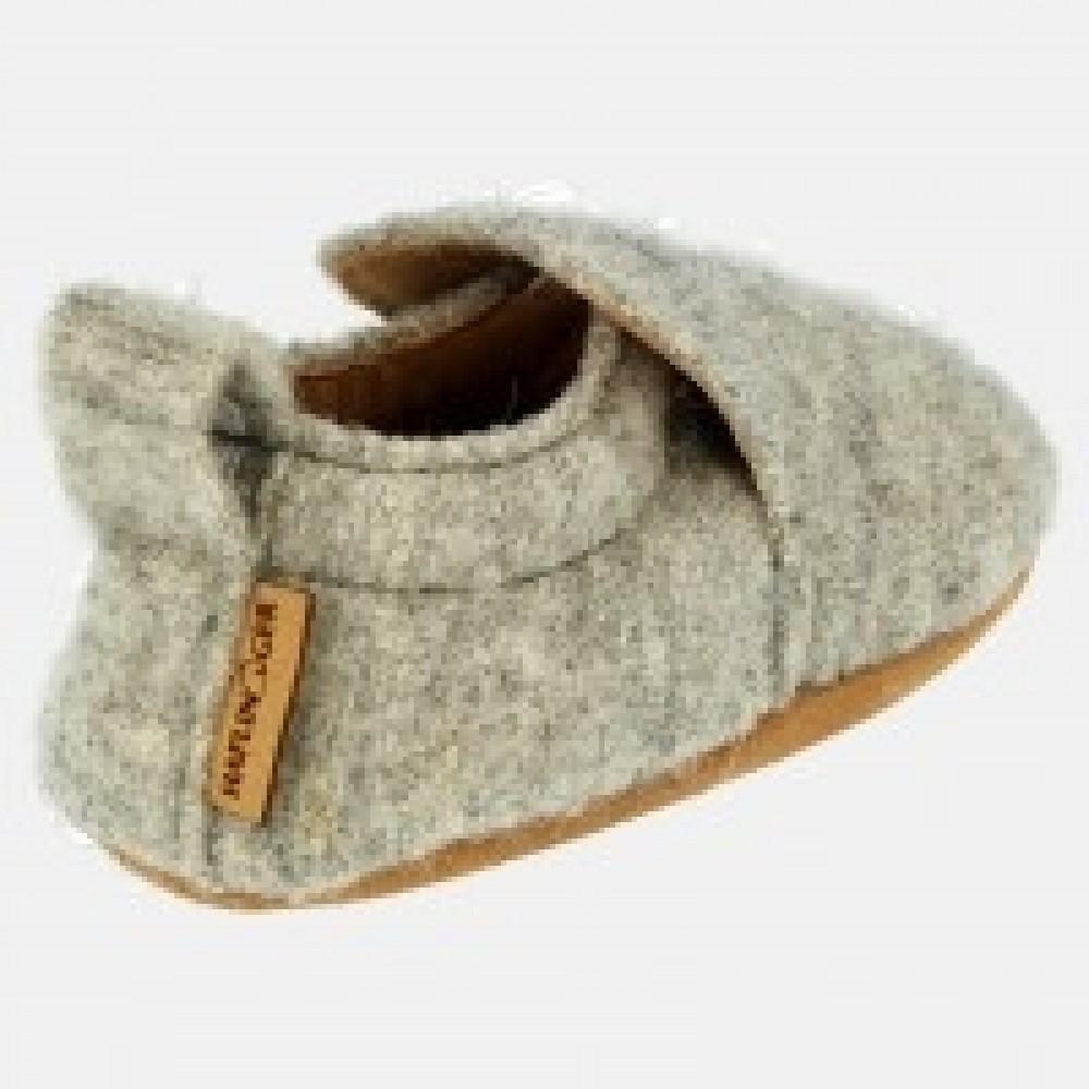 Haflinger indesko hafli uld naturgummisål grå-01