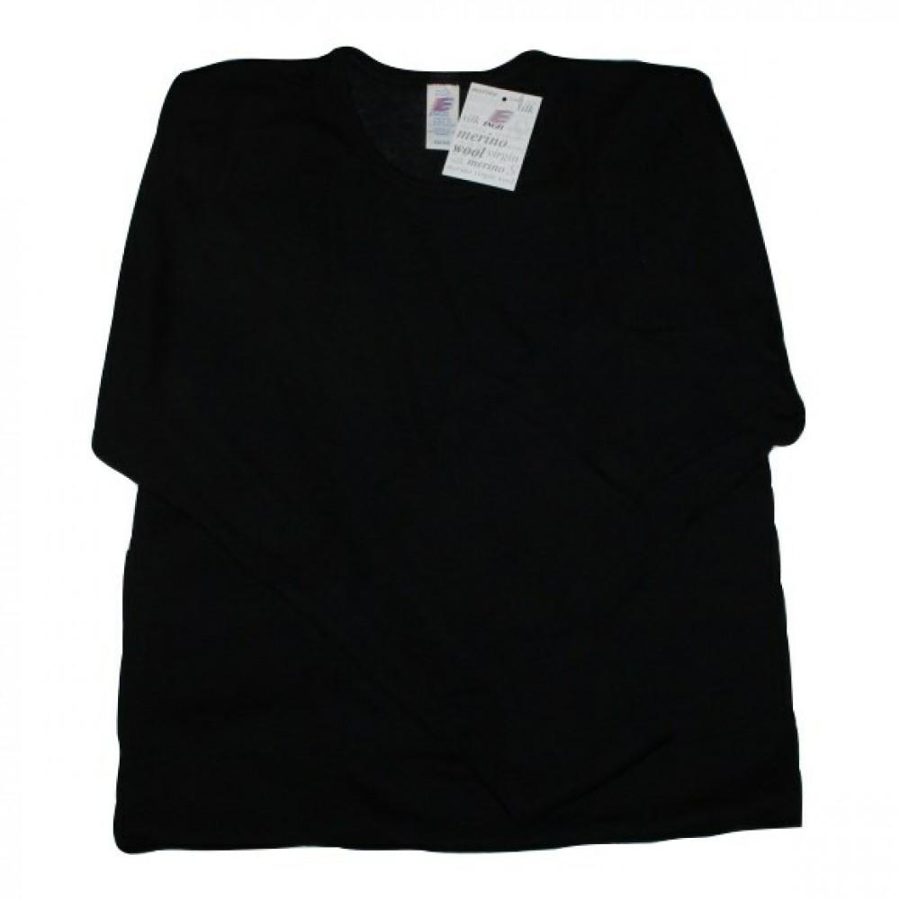 Engel herre langærmet t-shirt i økologisk uld and silke sort-01