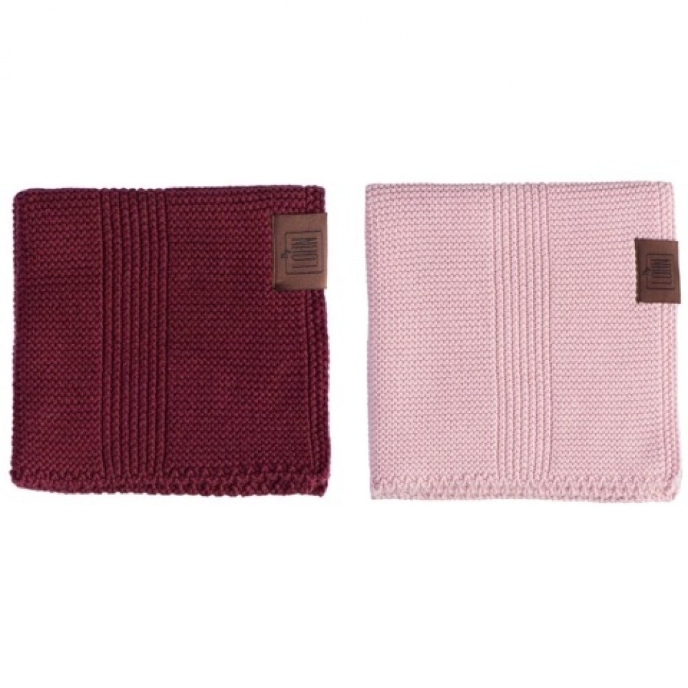 By Lohn all round cloth 30x30 cm. 2 stk. light pink and maroon-32
