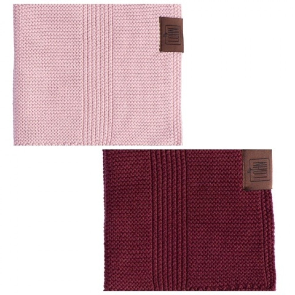 By Lohn all round cloth 30x30 cm. 2 stk. light pink and maroon-02
