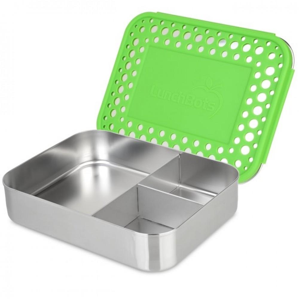 LunchBots Bento TRIO green dots ekstra stor madkasse-31