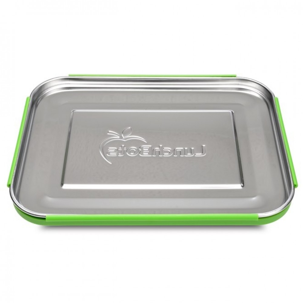 LunchBots Bento TRIO green dots ekstra stor madkasse-01