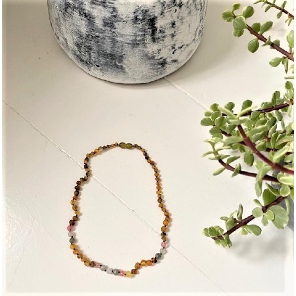 Rav halskæde voksen rav-månesten-quartz and labradorit-31