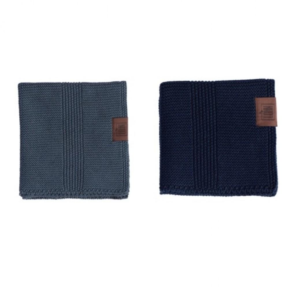 By Lohn all round cloth 25x25 cm. 2 stk. dark grey and navy-31
