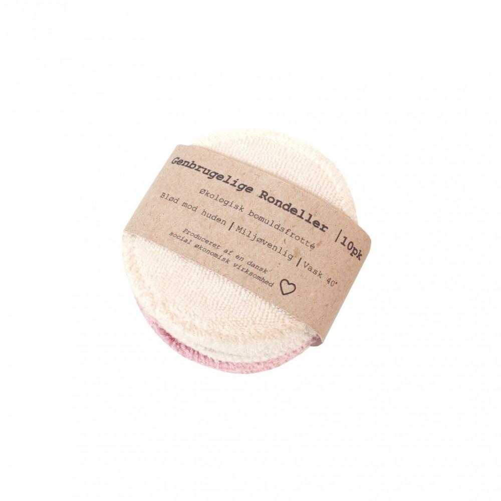 Pargaard genbrugelige øko-bomuldsrondeller 10 stk. natur and rosa-31