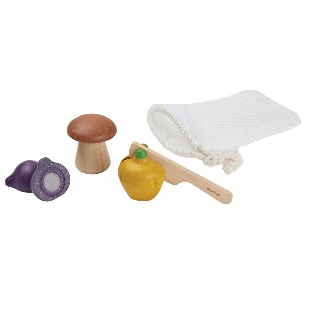 Plan Toys legemad i træ grøntsager i net-34