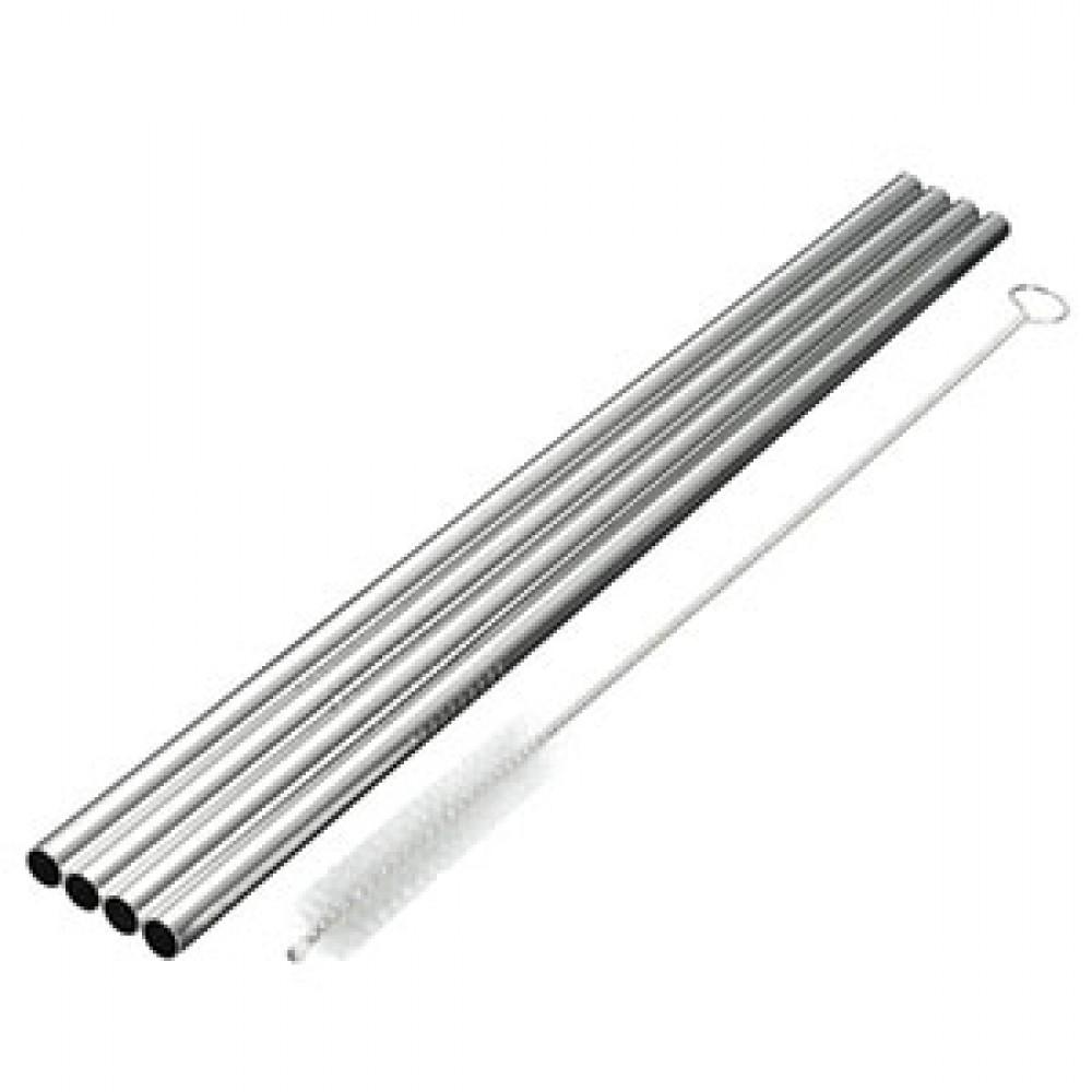 Pulito stål sugerør lige 4 stk. incl. børste-31