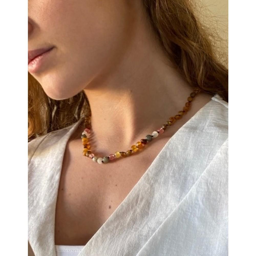 Rav halskæde voksen rav-månesten-quartz and labradorit-01
