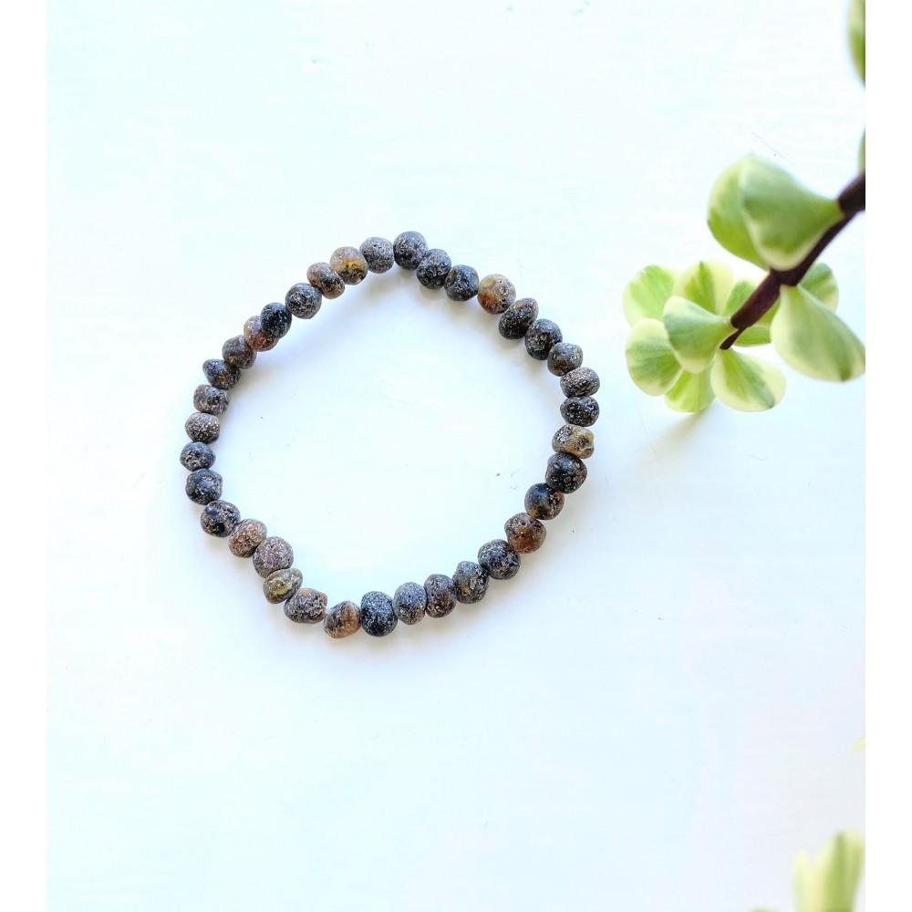 rav armbånd voksen raw green small stones 18 cm.-31