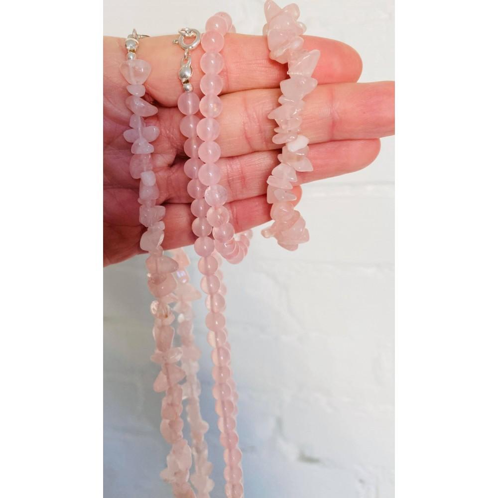 Rose quartz halskæde voksen chips ekstra lang-01
