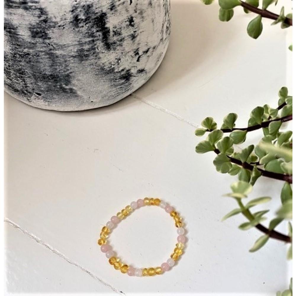 rav armbånd voksen rav-hvid agat and quartz 18 cm.-31