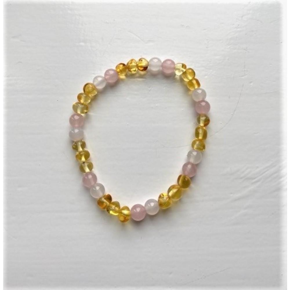 rav armbånd voksen rav-hvid agat and quartz 18 cm.-01