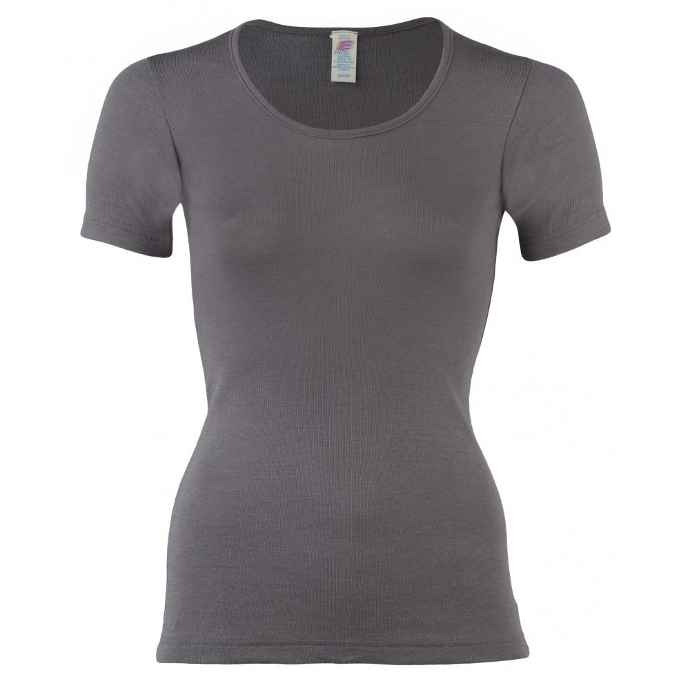 Engel dame kortærmet t-shirt uld and silke taupe-31