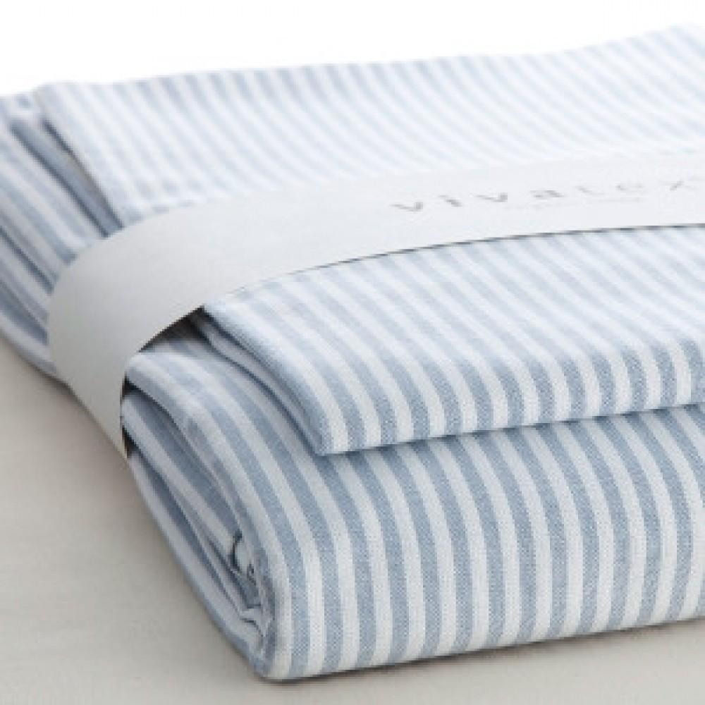 VivaTex sengesæt voksen størrelser seablue stribe-31