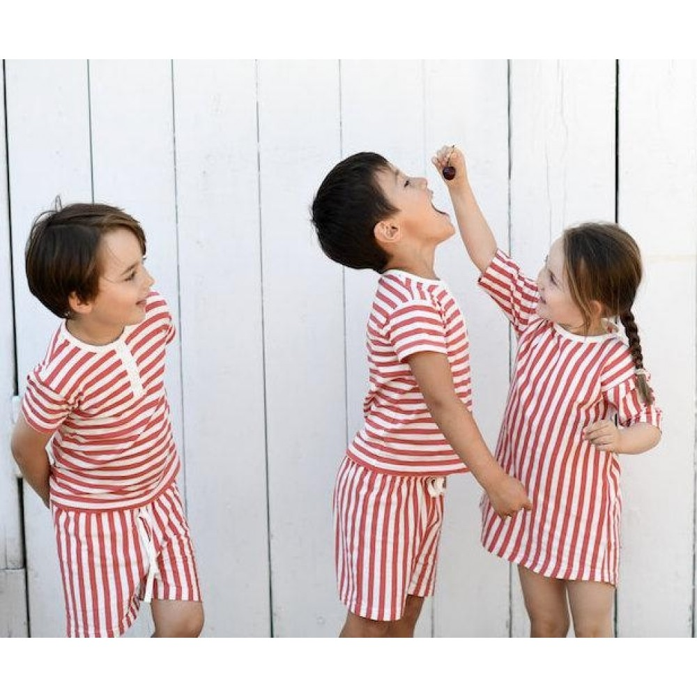 Snork Copenhagen SELMA pyjamas red seastripes-01