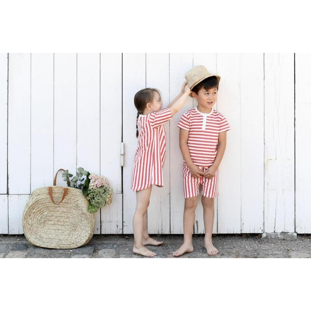 Snork Copenhagen Wilhelm pyjamas red seastripes-01