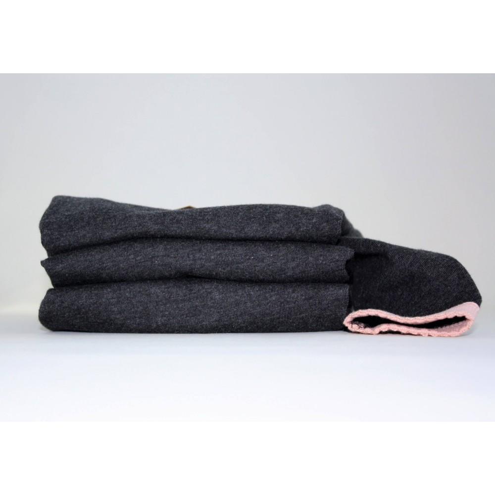 Snork Copenhagen pyjamas black melange m. fersken kant-01