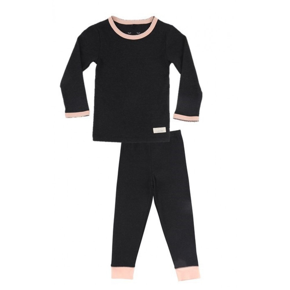 Snork Copenhagen pyjamas black melange m. fersken kant-31