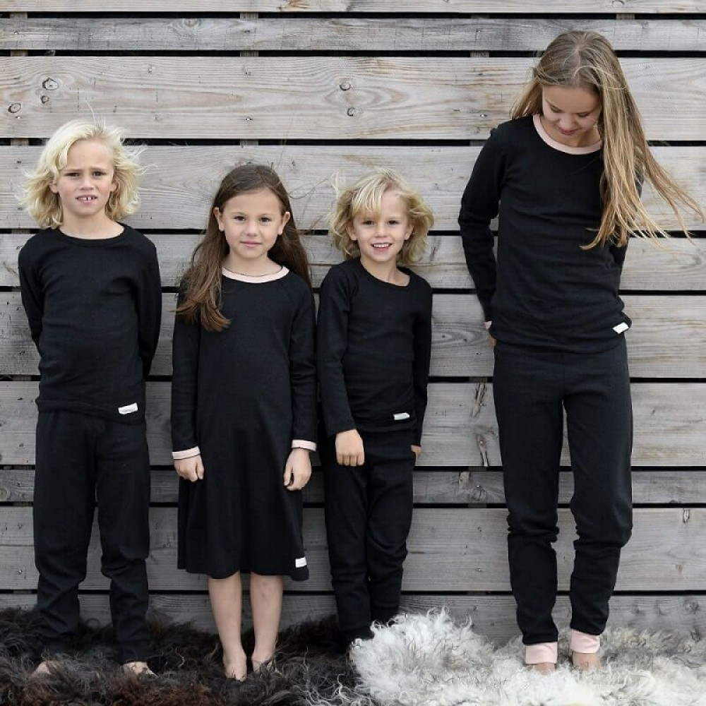 Snork Copenhagen natkjole black melange m. fersken kant-01