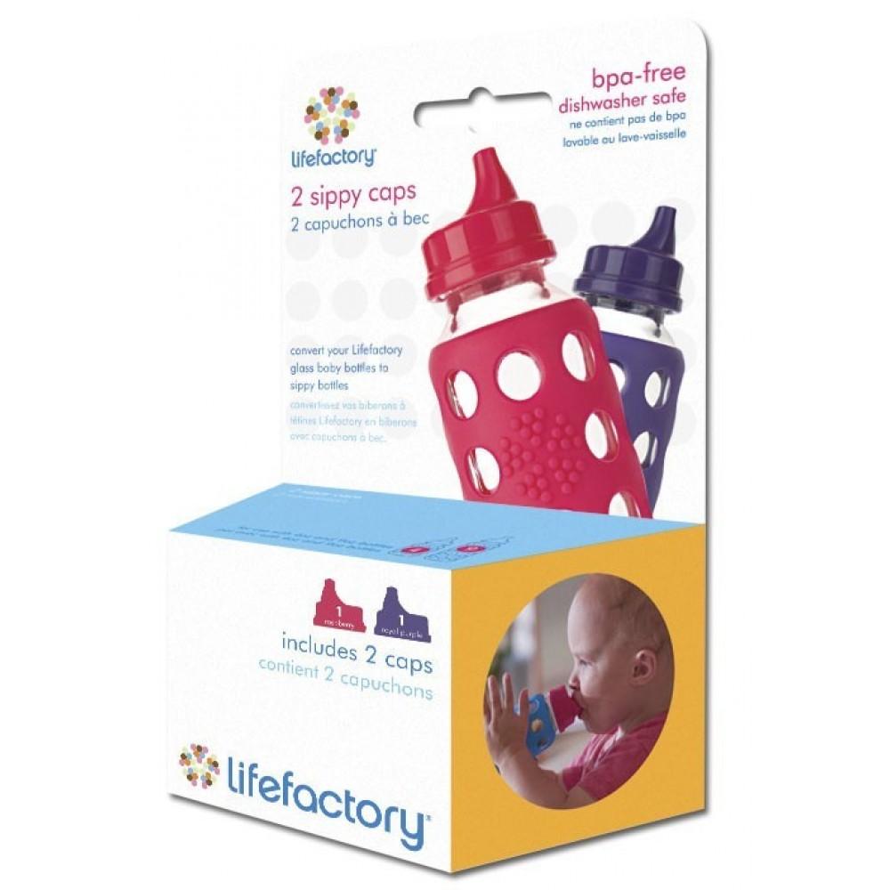Lifefactory pakke med 2 stk. sippy cap flere farver-01