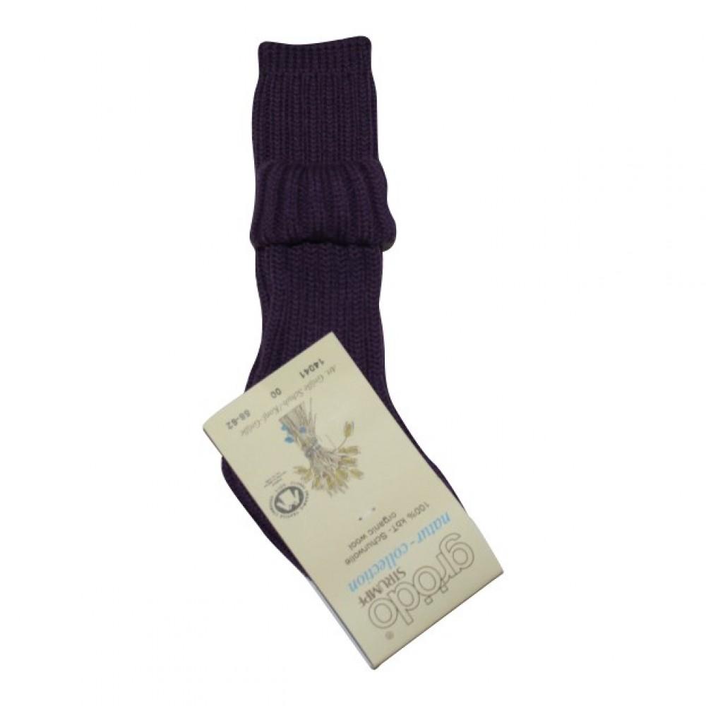 Grödo tyk uldsok med ekstra længde mørk lilla-01
