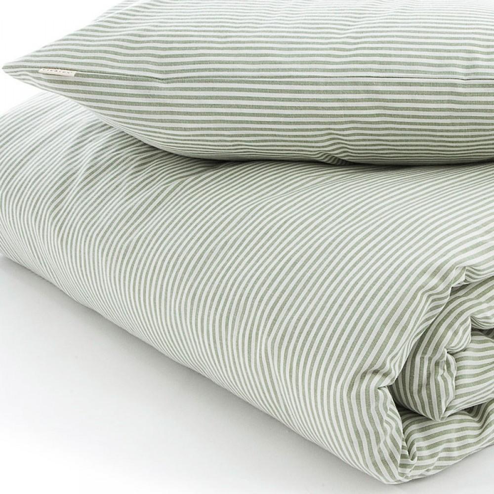 VivaTex sengesæt baby and junior grøn stribe-31