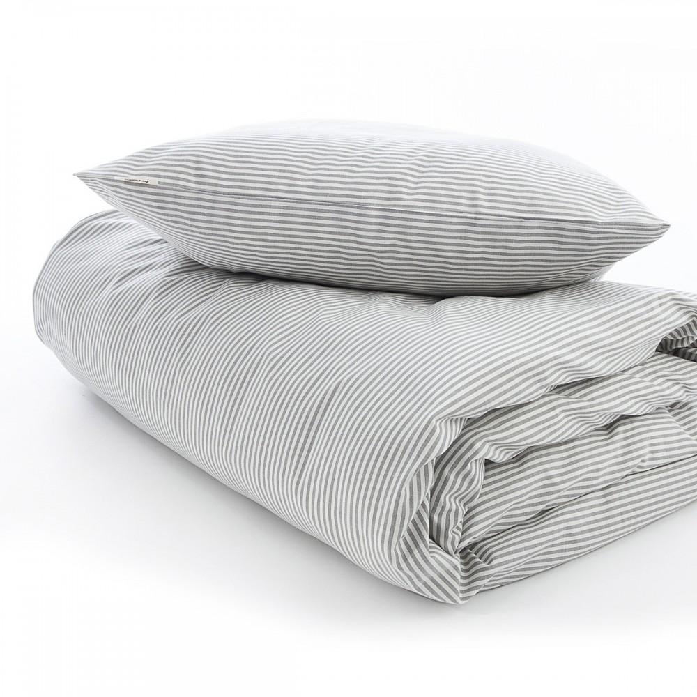 VivaTex sengesæt voksen størrelser grå stribe-31