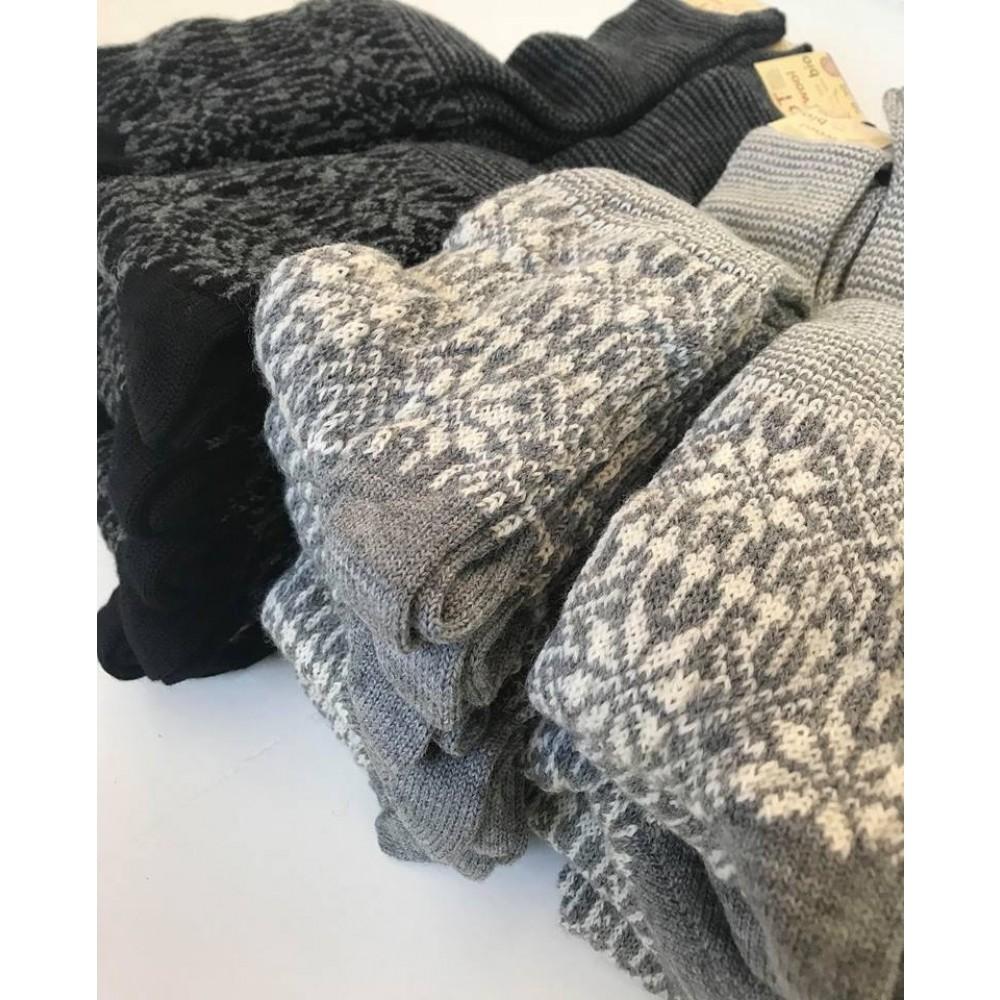 Hirsch knæ-uld-sokker grå and natur-01