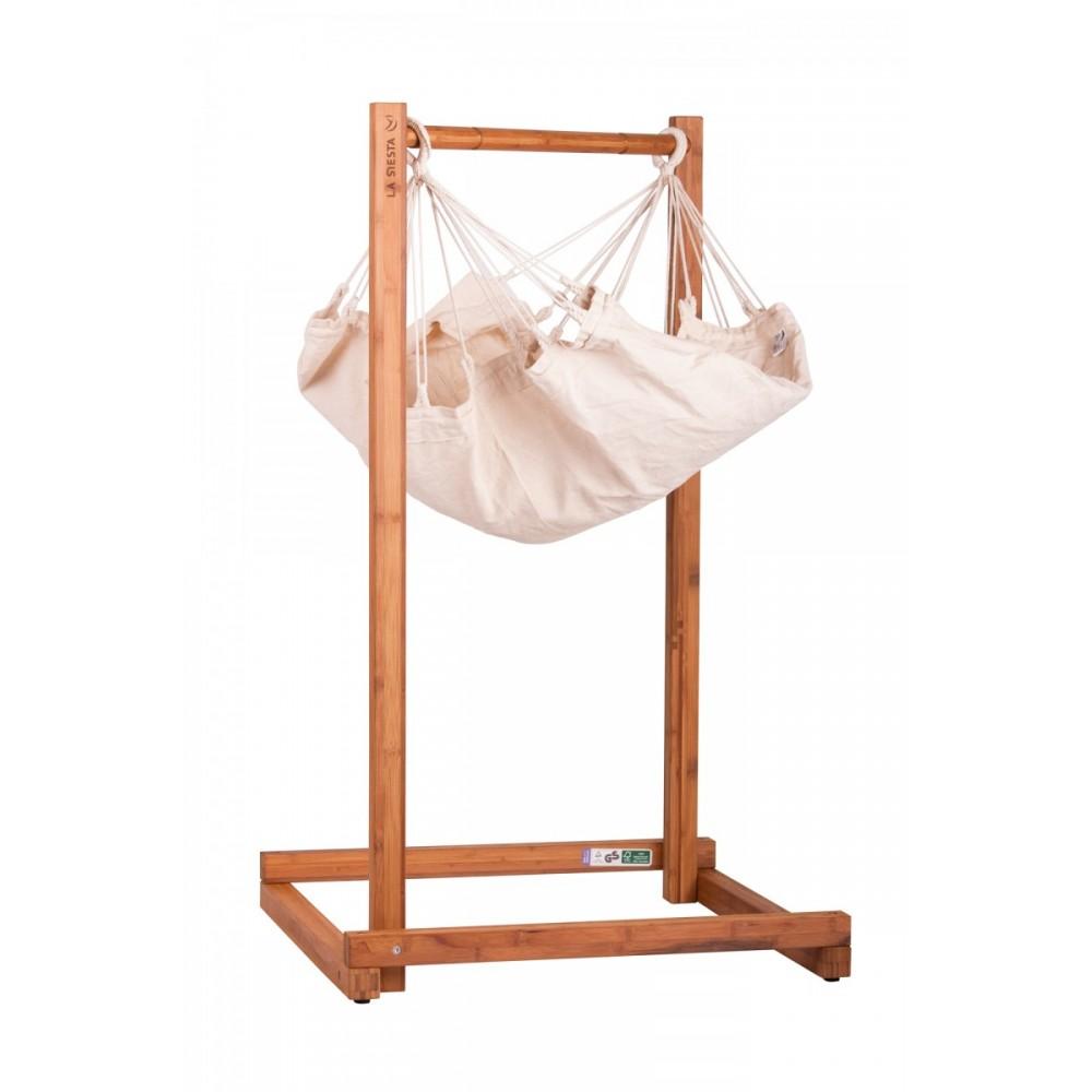 Babyhængekøje økologisk bomuld med stativ-03