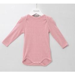 Alkena langærmet body bourette silke støvet rosa-20