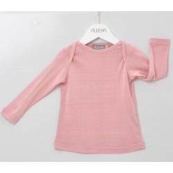 Alkena langærmet bluse bourette silke støvet rosa-20