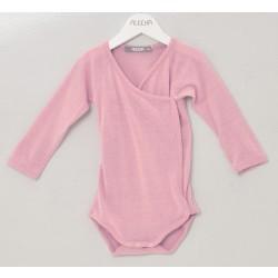 Alkena langærmet kimonobody bourette silke støvet rosa-20