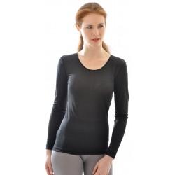 Alkena langærmet t-shirt økologisk silke sort-20